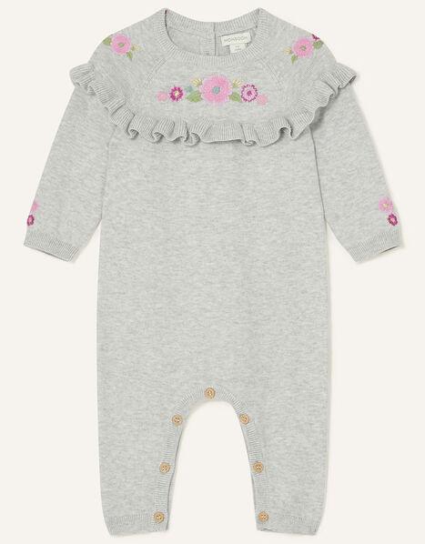 Newborn Floral Knit Sleepsuit Grey, Grey (GREY), large