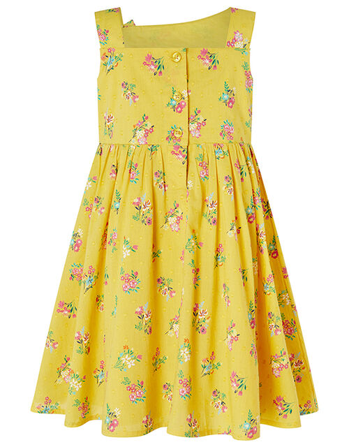 Baby Grace Floral Dress in Organic Cotton, Yellow (YELLOW), large