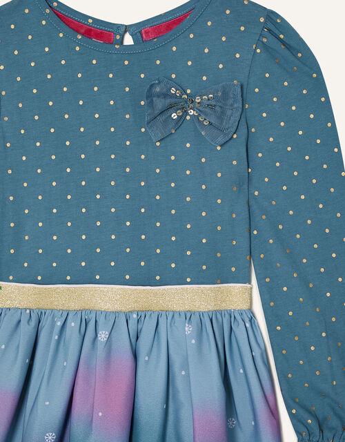 Christmas Scene Border 2-in-1 Dress , Teal (TEAL), large