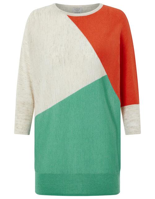 Cleo Colour-Block Jumper in Linen Blend, Multi, large