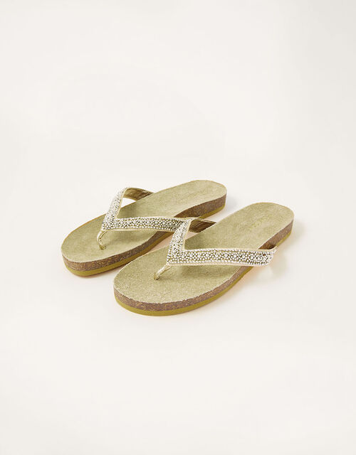 Embellished Toe-Post Flatform Sandals, Gold (GOLD), large