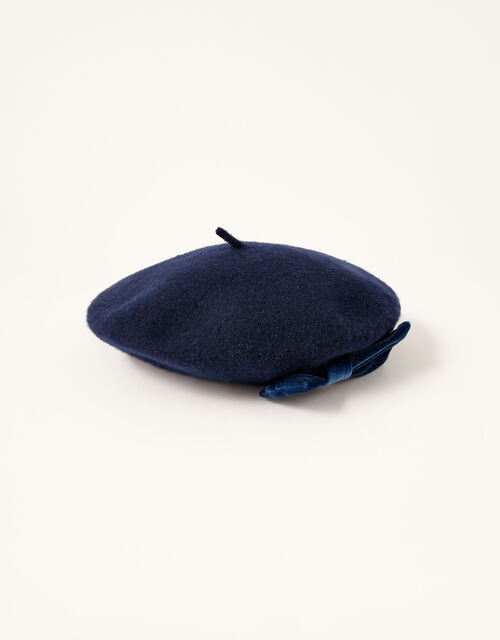 Amelie Beret in Pure Wool, Blue (NAVY), large