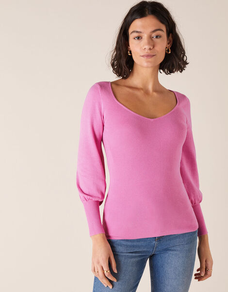 Sweetheart Neck Jumper Pink, Pink (PINK), large