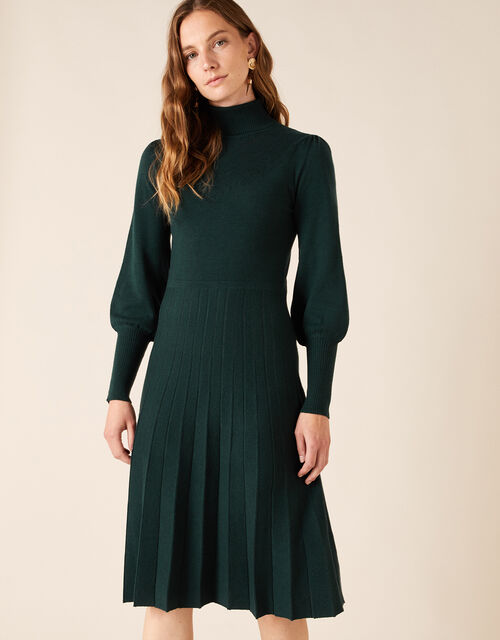 Pointelle Yoke Knit Dress with Recycled Fabric, Green (DARK GREEN), large