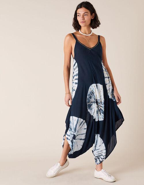 Sequin Tie-Dye Romper in LENZING™ ECOVERO™, Blue (NAVY), large