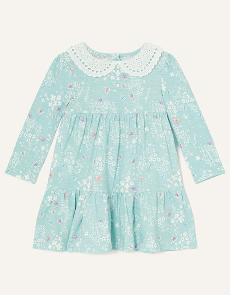 Baby Lace Collar Butterfly Print Dress Blue, Blue (BLUE), large
