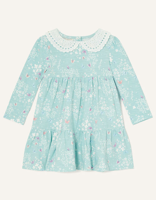 Baby Lace Collar Butterfly Print Dress, Blue (BLUE), large