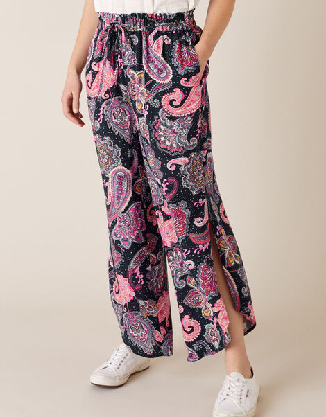 Paisley Cropped Trousers in LENZING™ ECOVERO™ Blue, Blue (NAVY), large