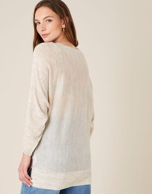 Gathered Sleeve Jumper in Linen Blend, Natural (NATURAL), large