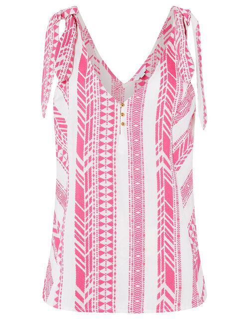 Tie Strap Jacquard Cami, Pink (PINK), large