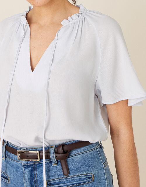 Tie Neck Short Sleeve Blouse, Grey (GREY), large