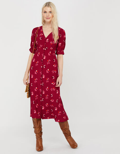 Betty Floral Tea Dress in Sustainable Viscose Red, Red (RED), large