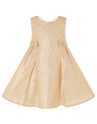 Baby Shimmer Rose Jacquard Dress Gold, Gold (GOLD), large