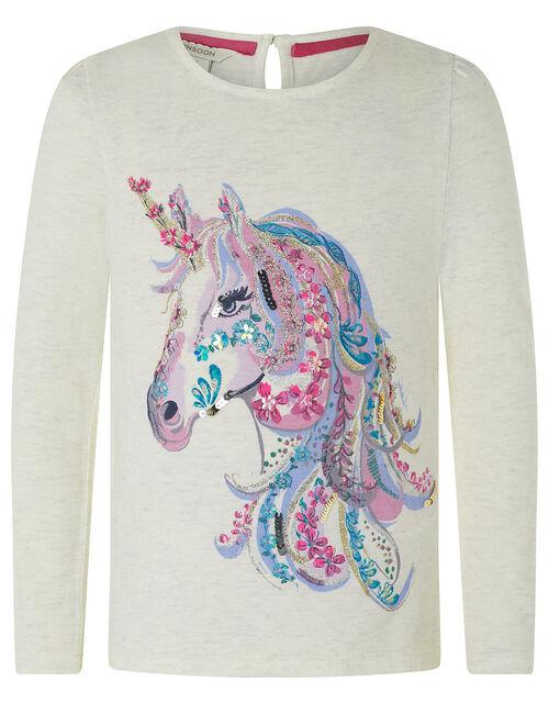 Unicorn Long-Sleeved T-shirt in Organic Cotton, Camel (OATMEAL), large