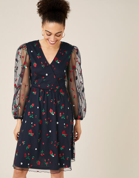 Zariah Strawberry Embroidered Wrap Dress Blue, Blue (NAVY), large