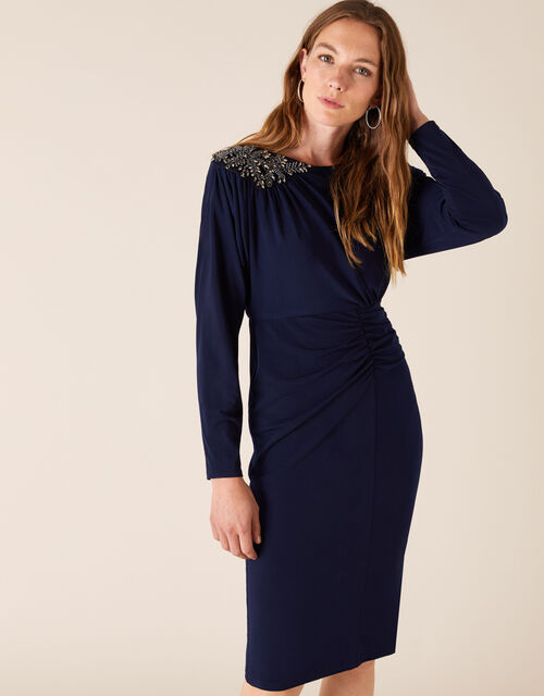 Danielle Beaded Shoulder Jersey Dress, Blue (NAVY), large
