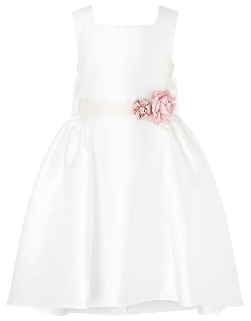 Cynthia Corsage Belt Dress, Ivory (IVORY), large