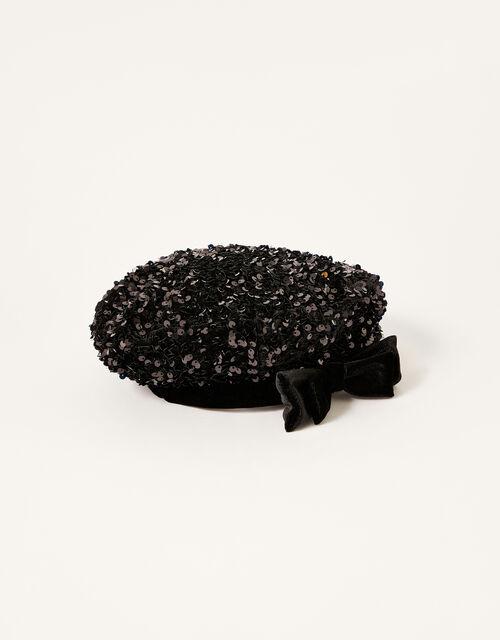 Sequin Beret, Black (BLACK), large