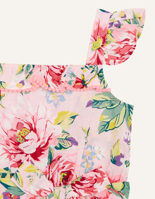 Baby Floral Romper in Pure Cotton, Pink (PALE PINK), large