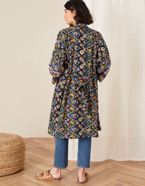 Pablo Printed Kimono, Blue (NAVY), large