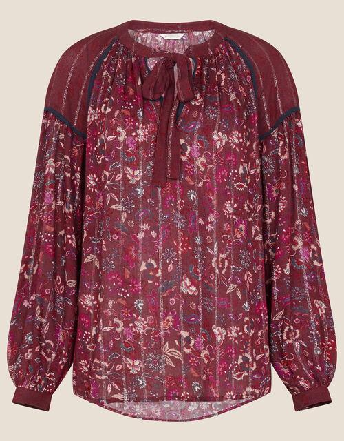 Indie Printed Tie Neck Blouse, Red (BERRY), large