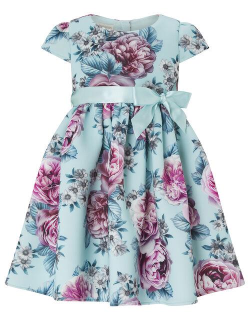 Baby Leena Floral Scuba Occasion Dress, Blue (PALE BLUE), large