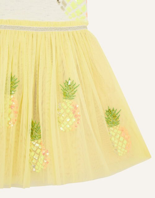 Sequin Pineapple Disco Dress, Yellow (YELLOW), large