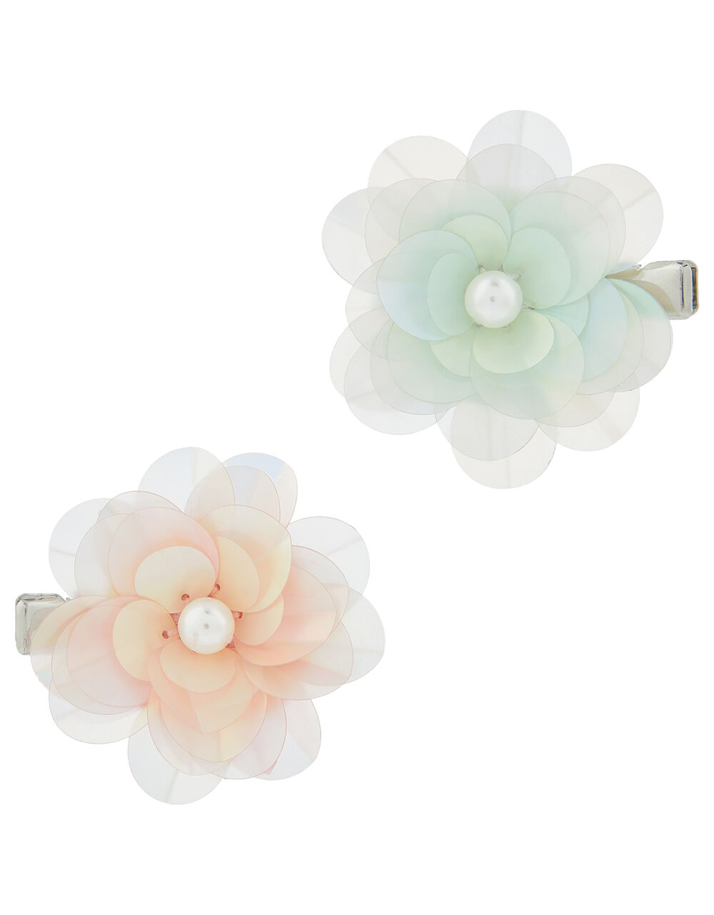 Frosted Flower Mini Hair Clips, , large