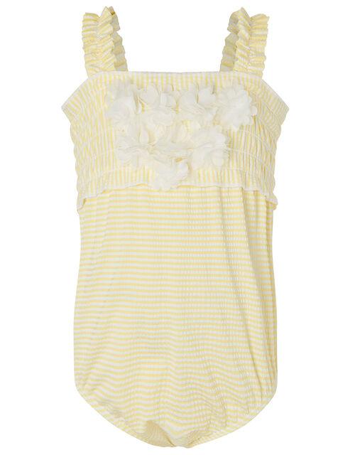 Baby Seersucker Flower Swimsuit , Yellow (YELLOW), large