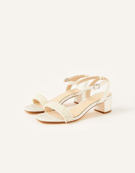 Lisa Low Heel Bridal Sandals Ivory, Ivory (IVORY), large