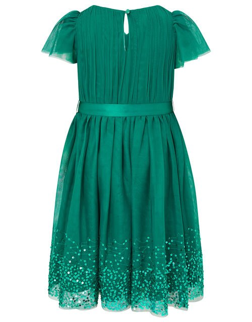 Tulle Sequin Wrap Dress, Green (GREEN), large