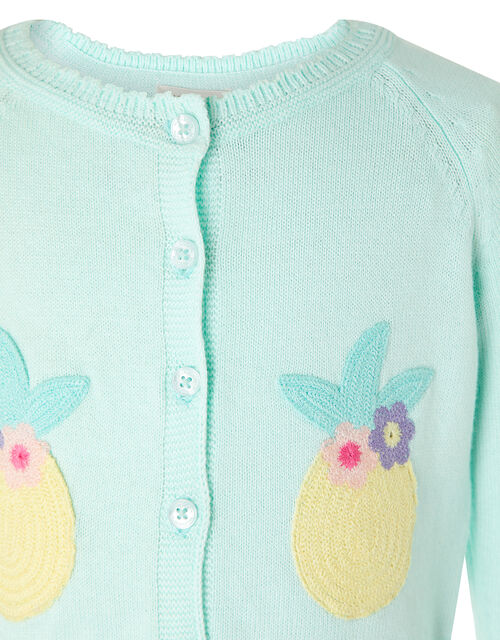 Baby Pineapple Knit Cardigan, Blue (AQUA), large