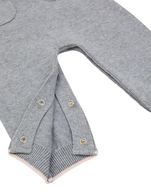 Newborn Baby Bunny Knit Dungarees Set, Grey (GREY), large