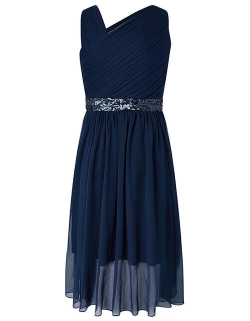Abigail One Shoulder Prom Dress, Blue (NAVY), large