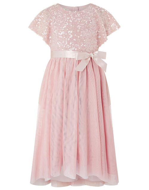 Truth Sequin Cape High-Low Dress, Pink (PALE PINK), large