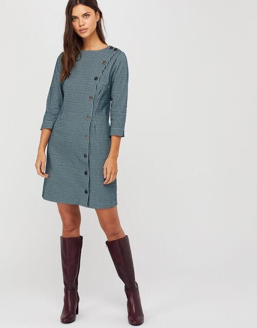 Henny Houndstooth Jacquard Dress, Teal, large