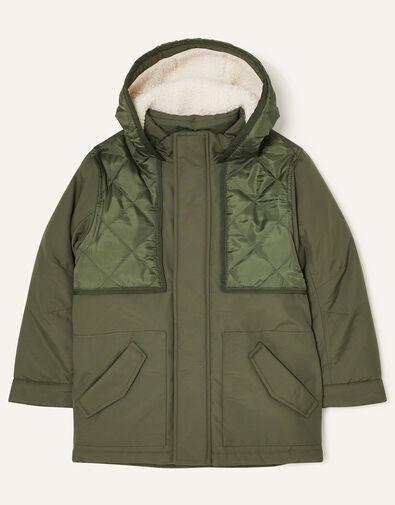 Hooded Parka Coat Green, Green (KHAKI), large