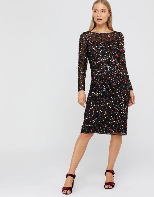 Megan Sequin Midi Dress, Black, large