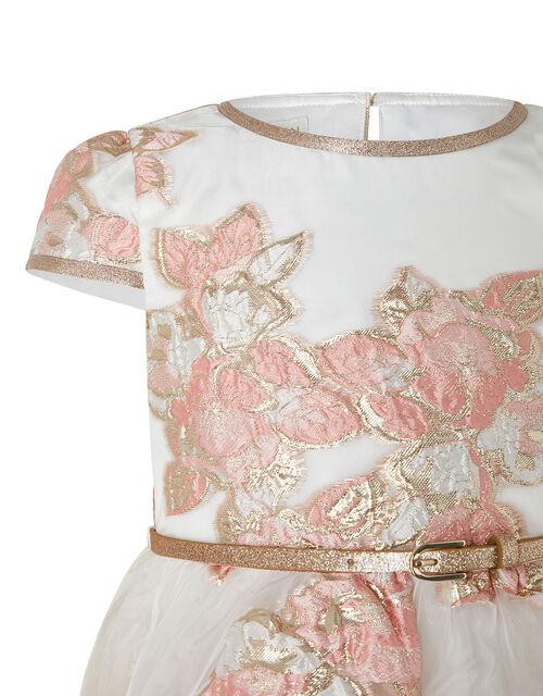 Vanda Organza Jacquard Dress with Glitter Belt, Orange (PEACH), large