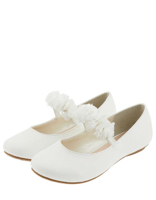 Cynthia Corsage Shimmer Ballerina Flat Shoes, Ivory (IVORY), large