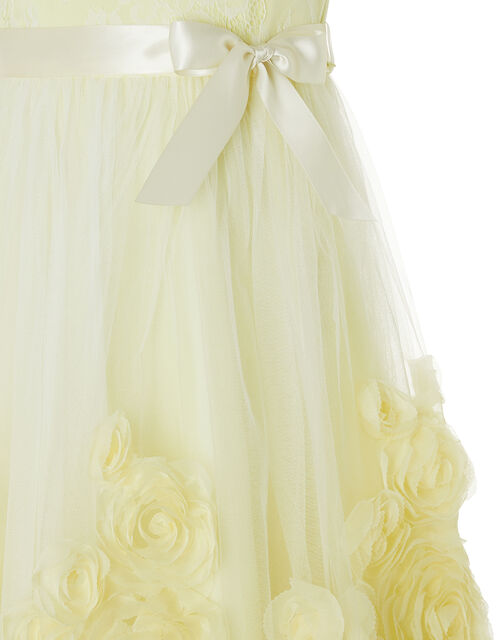 Macaroon Occasion Dress with 3D Flowers, Yellow (LEMON), large