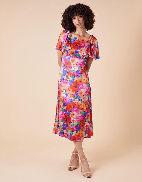 Lina Floral Satin Midi Dress Pink, Pink (PINK), large