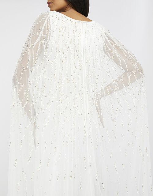 Naomi Bridal Embellished Cape Maxi Dress, Ivory (IVORY), large