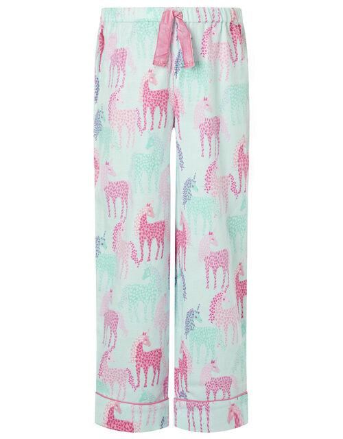 Unicorn Flannel Pyjama Set in Organic Cotton, Pink (PINK), large