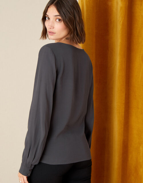 V-Neck Long Sleeve Top, Blue (PETROL), large