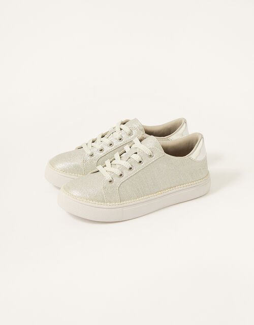 Shimmer Pearl Edge Trainers , Silver (SILVER), large
