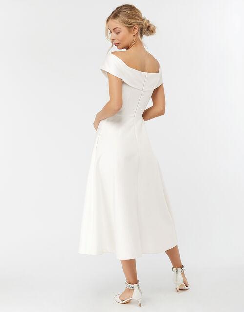 Grace Bardot Midi Bridal Dress, Ivory (IVORY), large