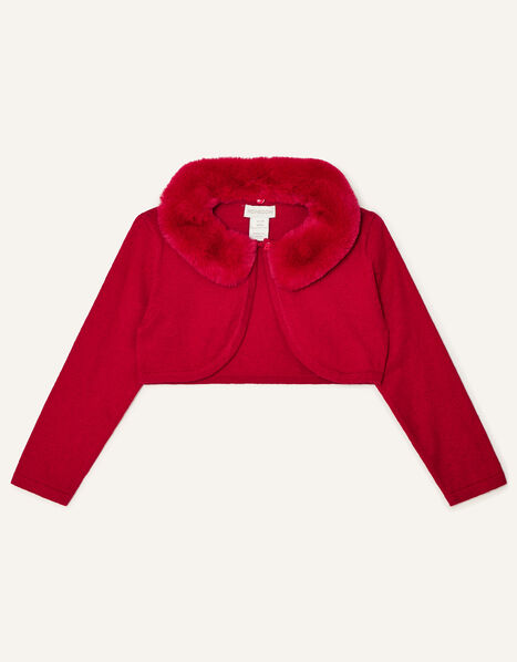 Baby Faux Fur Collar Cardigan Red, Red (RED), large
