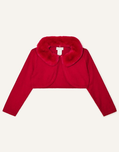 Baby Faux Fur Collar Cardigan, Red (RED), large