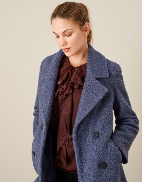 Betsy Boucle Coat, Blue (BLUE), large